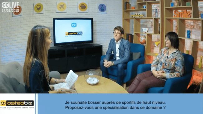 Photo d'une interview dans le campus de l'école d'Ostéopathie Ostéobio Paris