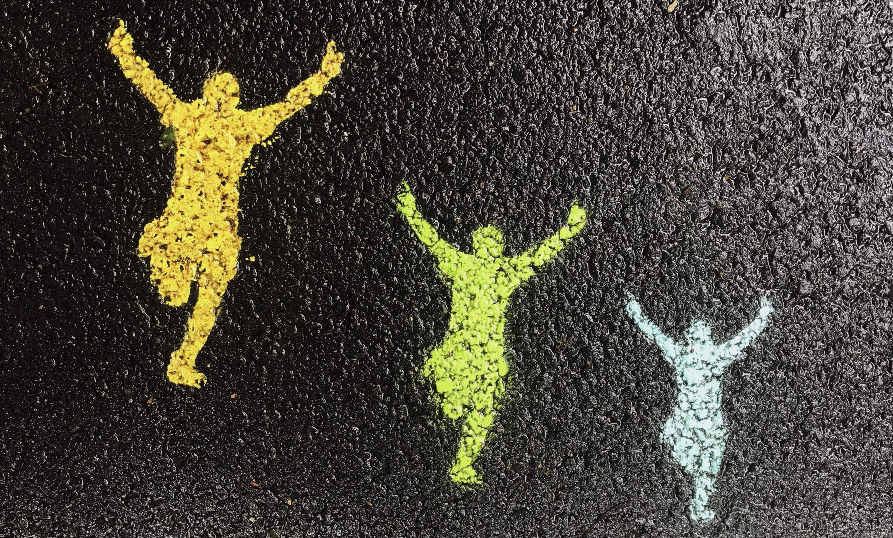 Peinture de trois personnes en train de sauter